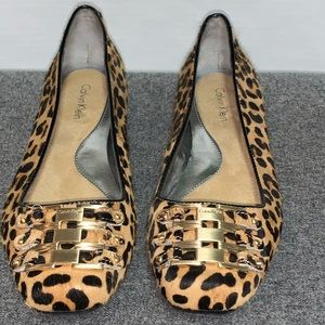 Calvin Klein Cheetah Animal Print Gold Flat 6.5